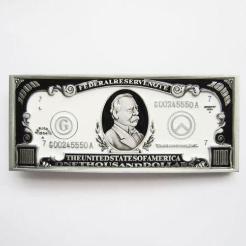 1000 One Thousand US Dollar Bill Novelty Metal Belt Buckle