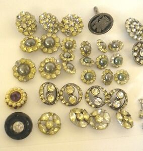 Lot of 40+ Vintage RHINESTONE Buttons - 1920's - 1930's + Sterling Cuff-Link