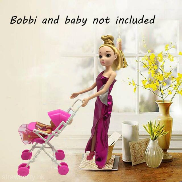 Cute DIY Assembly Baby Buggy Stroller Pink Dollhouse Carriage Toy