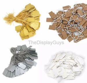 200PCS White/Kraft/Si<wbr/>lver/Gold Paper Knotted Elastic String Marking Price Tag