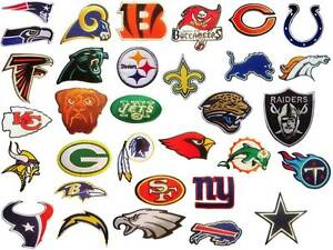 bdd23881 Details about All 32 NFL, National Football League Teams Logo embroidered  iron on patch lot.