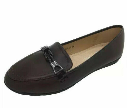 LADIES WOMENS SHOES LOAFERS FLAT SLIP ON COMFORT PU WORK SCHOOL CASUAL NEW SIZES