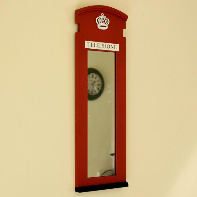 Red London Telephone Box Mirror Frame Phone Home Wall English Urban Chic