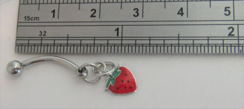 Surgical Steel Hoop Strawberry Dangle Barbell VCH Clitoral Hood Ring 14 gauge
