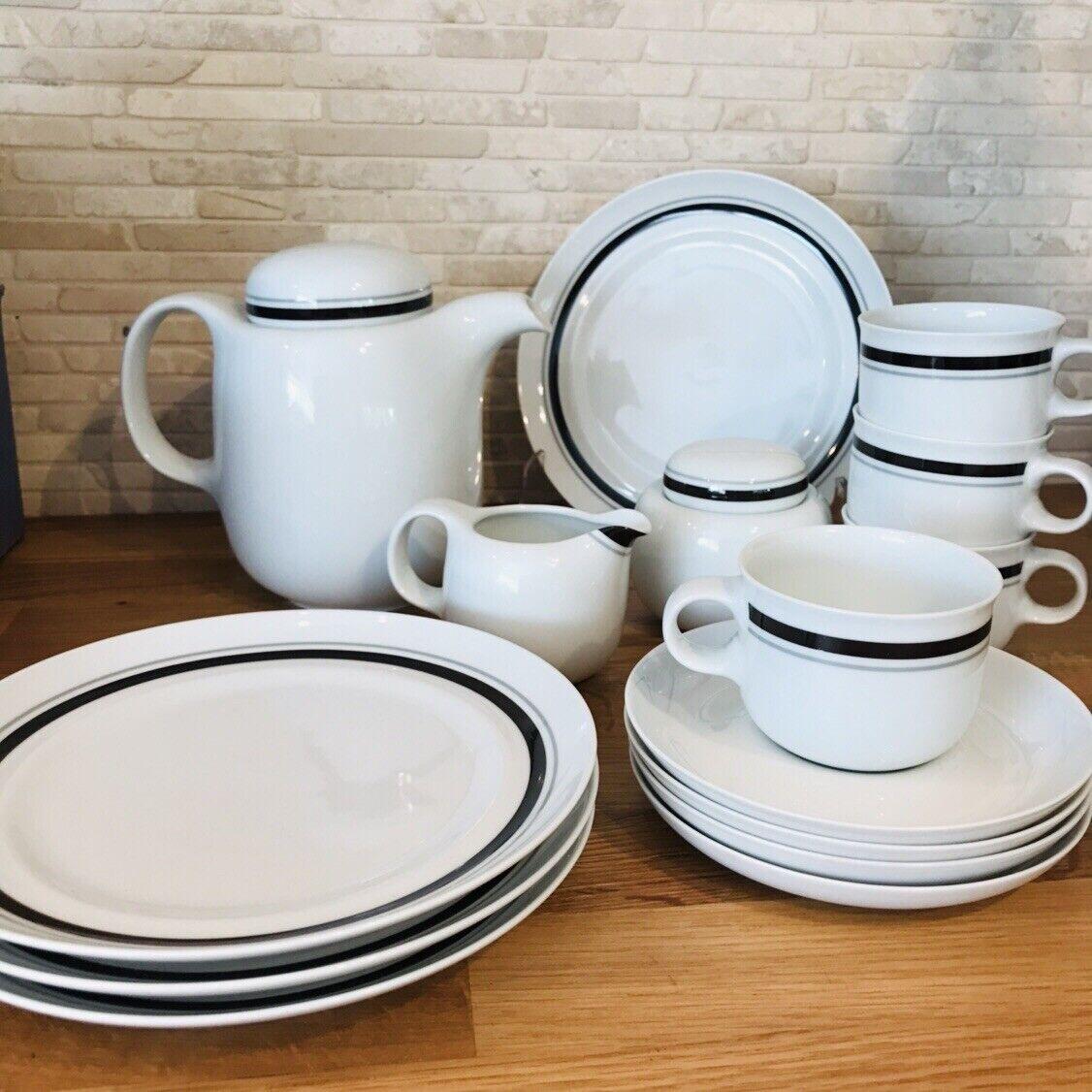 Hutschenreuther Tavola service à café 4 personnes Blanc Noir Monza 15 Pièces Article Neuf