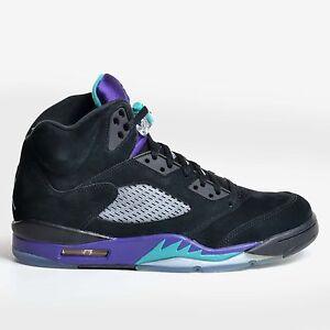 on sale 41136 f133a Image is loading Air-Jordan-5-Retro-Black-Grape-2013-Emerald-