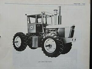 1972-1975 GENUINE JOHN DEERE 7520 TRACTOR PARTS CATALOG MANUAL MINTY