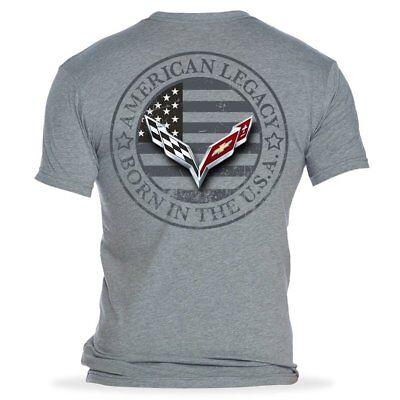 XXX-Large C7 Corvette Born in The USA American Legacy Mens T-Shirt//Heather Gray