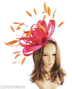 Image is loading Large-Fuchsia-Orange-Fascinator-for-Ascot-Weddings-Mother- 2fff8bea9d1