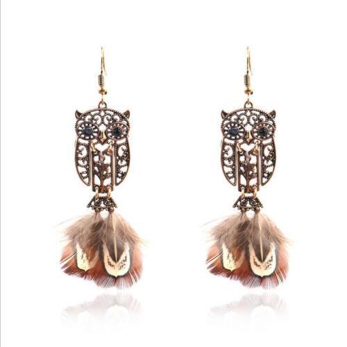 Fashion Owl Boucles d/'oreilles vintage plume Tassel Earring Femmes Créatif Bijoux