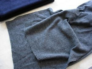 Charcoal-Gray-grey-100-Pure-cashmere-scarf-Winter-Unisex-soft-knit-long
