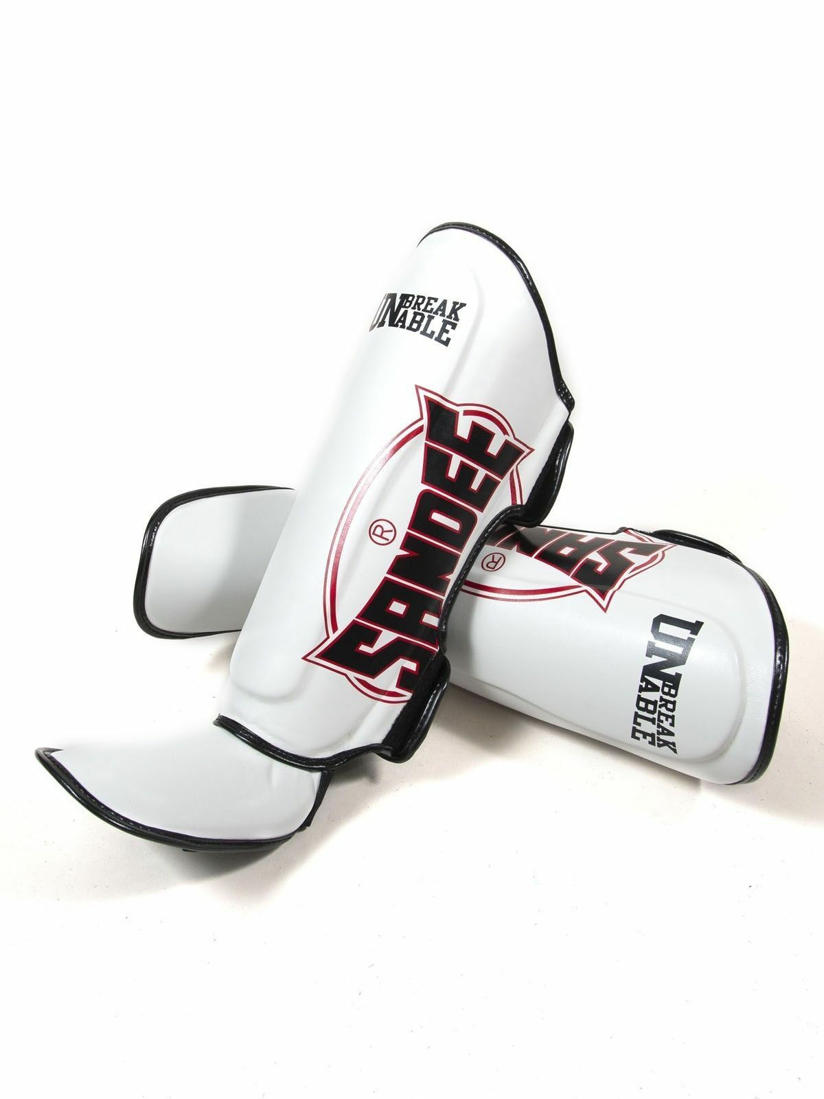 Sandee Cool-Tec Weiß Synthetic Leder Stiefel Shin guards Muay-Thai Boxing - Kids