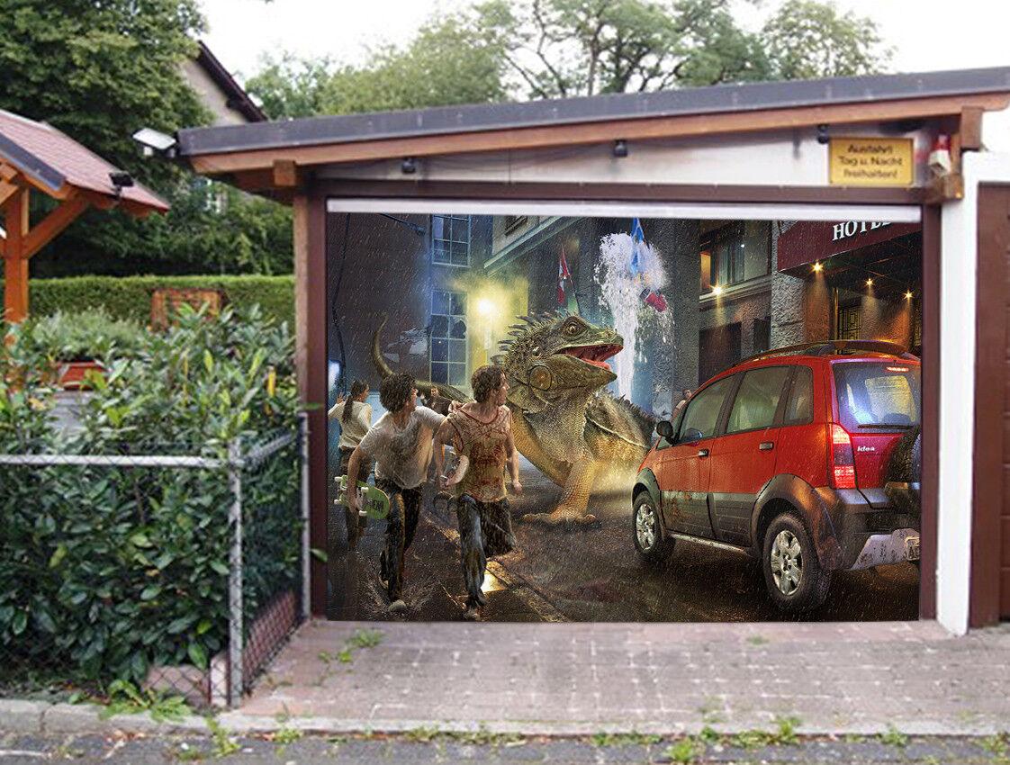 3D Dinosaur Car 4 Garage Door Murals Wall Print Decal Wall AJ WALLPAPER AU Lemon