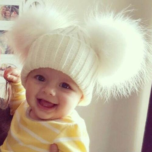 Cute Kid Fur Double Pom Cap Winter Warm Knitted Wool Cap Bobble Beanie Hat Pink