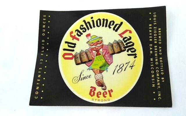 Vintage Old Fashioned Lager Beer Bottle Label Louis Ziegler Brew Ebay