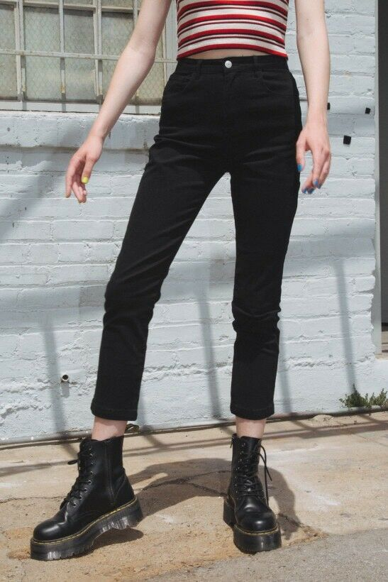 Brandy Melville schwarz High Rise Cintura in Cotone Hoop Jane Pantaloni