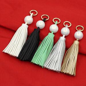 Handmade Leather Tassel Pendant Pearl Keyring Bag Purse Charm Handbag Key Chain