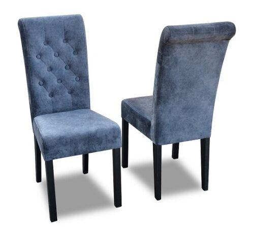 1x Chesterfield Stuhl Set Sitz Polster Garnitur Esszimmer Stühle Lehn Leder K11G