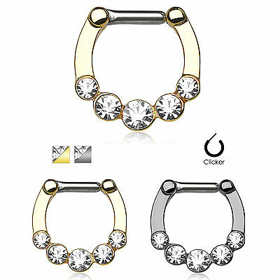 Five CZ Gold IP Surgical Steel Septum Piercing Jewelry Clicker Nose Ring 14g