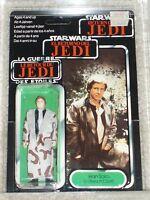 Vintage Star Wars 1984 HAN SOLO TRENCHCOAT AFA 80/80/85 TRI-LOGO CARD BACK MOC!