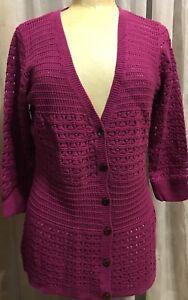 NEW-DKNY-Women-039-s-Lightweight-3-4-Sleeve-Button-Up-Cardigan-Sweater-Pink-M