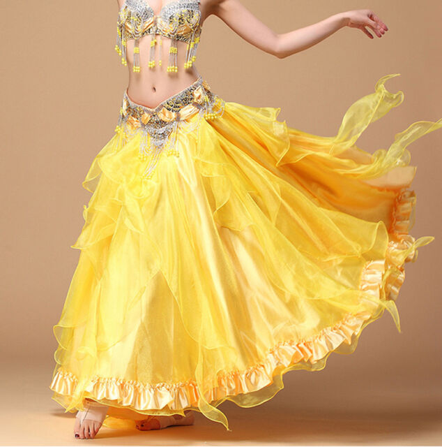 New Professional Belly Dance Costume Waves Long Skirt Dress Big Skirt Hollywood