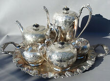19th C Antique WILCOX SILVER Quadruple Plate TEA SERVICE Tray VICTORIAN Service
