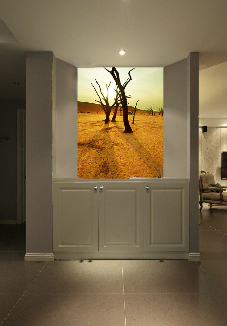 3D Desert Trees Sun 7 Wallpaper Mural Paper Wall Print Wallpaper Murals UK Lemon