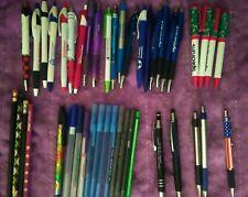 Huge Lot Of 44 Pens Amp Pencils Pushtwist Retractable Caps Black Amp Blue Inks