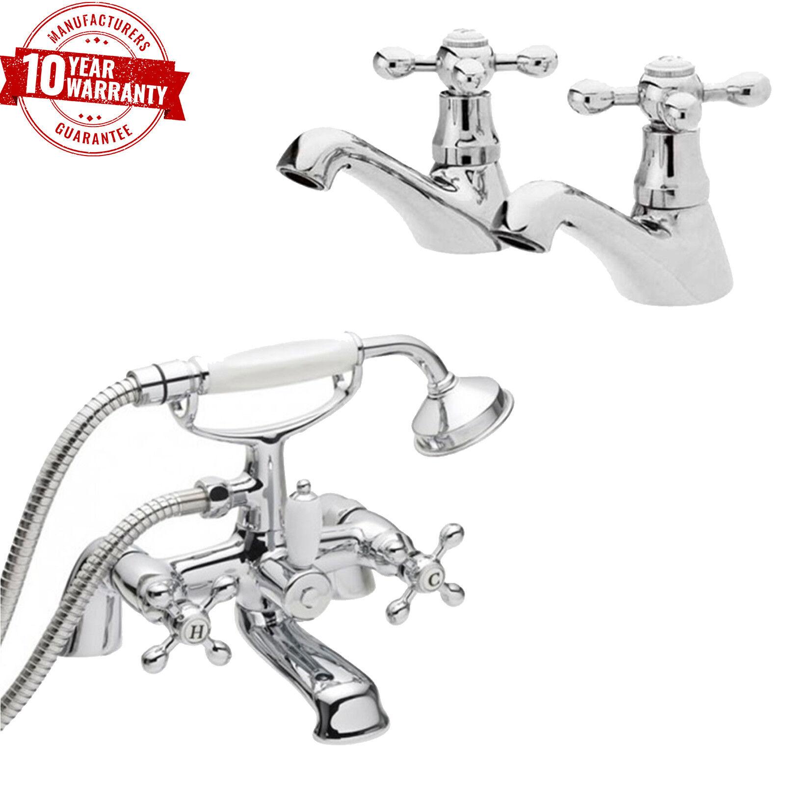 Tradizionali rubinetti lavabo cromo PAIR & Bagno Doccia Miscelatore TRAVERSA Maniglie Set  V