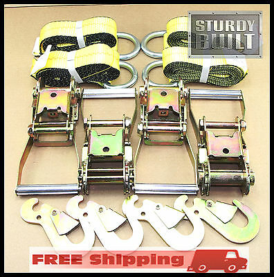 """2-Pack 2x Heavy-Duty 2/"""" x 14-Ft Ratchet Ratcheting Tie-Down Hook Cargo-Straps"""