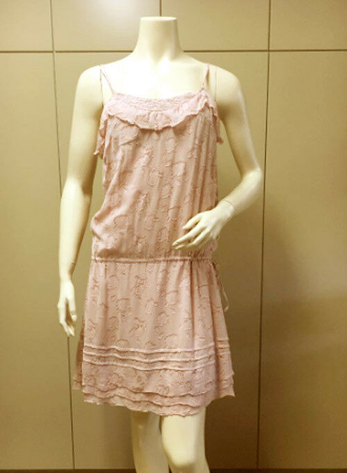 278 BCBG RUNWAY pinkWATER  FLX15381  STRAP WOVEN VOILE DRESS TUNIC NWT M