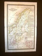 Carta geografica mappa Dufour 1840 Monarchia Svezia Norvegia Danimarca Islanda
