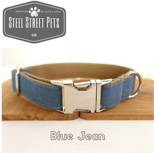Designer-Blue-Jean-Dog-Puppy-Pet-Collar-with-Leash-Option-All-Breeds-Sizes