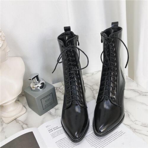 Stiefel Bikers Boots Laces Rangers Damen 6 cm Absatz Schwarz 38