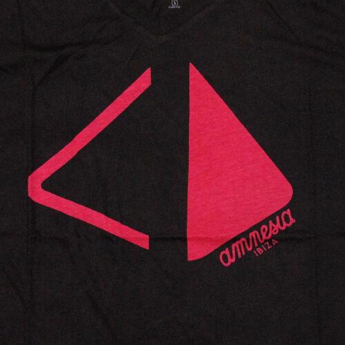 OFFICIAL Amnesia Ibiza Club Mens T-shirt V-neck Pyramid Logo BLACK Red RRP £60
