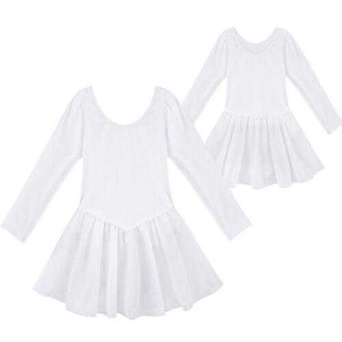 Kids Girls Long Sleeve Ballet Class Tutu Dress Dance Leotard with Ruffled Skirt