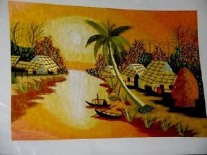 Tribal-Village-on-River-Stitched-Picture-on-Fabric-54-5x39-5cm-Ready-to-Frame