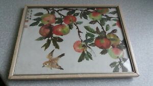 VINTAGE-CHINESE-JA-PANESE-SIGNED-FRAMED-PICTURE-BIRDS-APPLES-FRUIT-10-1-2