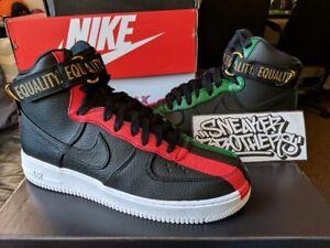 Nike Air Force One 1 High BHM Equality Black University Red Green ... 255a8cf8b714
