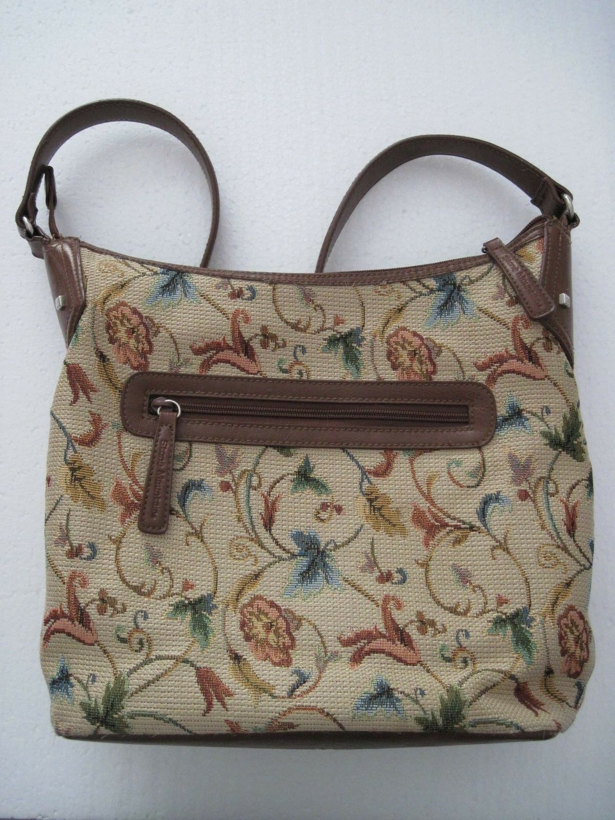 STONE MOUNTAIN tapestry and faux leather handbag, floral, 14