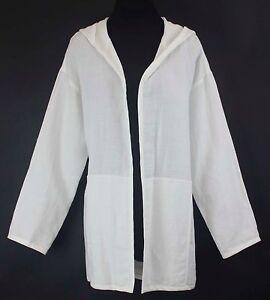 bambou Eileen Fisher Open Sz Hooded lin en M cassé Ls Jacket B293 Blanc nfPnx