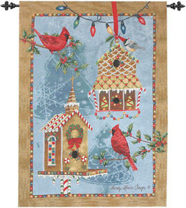 Gingerbread Garden ~ Christmas Cardinals & Birdhouses Tapestry Wall Hanging