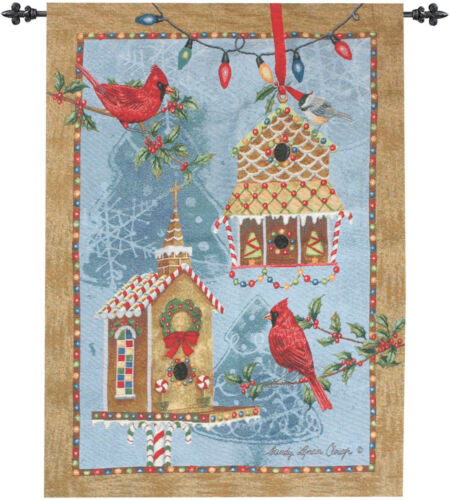 Gingerbread Garden ~ Christmas Cardinals /& Birdhouses Tapestry Wall Hanging