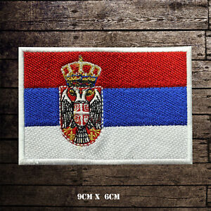 SERBIA-Flag-Embroidered-Iron-On-Sew-On-Patch-Badge-For-Clothes-Etc