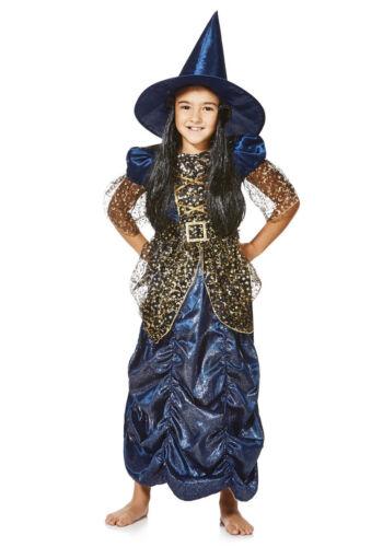 Bleu nuit robes de bal Sorcière Halloween Déguisement Robe Bnwt 7-10yrs Filles Costume
