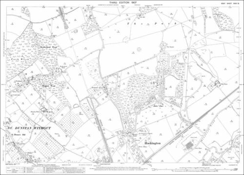 Canterbury north Hackington old OS Kent map 35-15-1907
