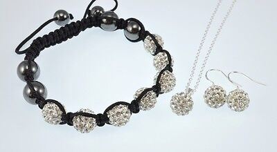 Crystal Pave Disco Ball Weave Shamballa Beads Bracelet,Earrings,Necklace,Sets
