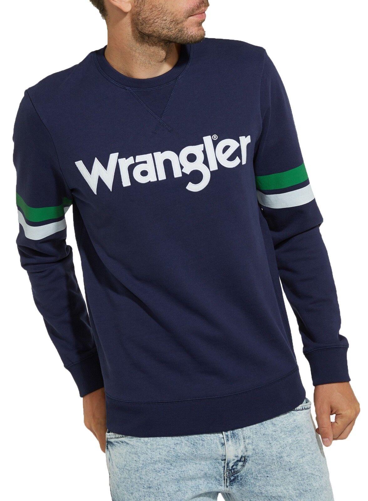 Wrangler Retro Herren Baumwolle Rundhals Großes Logo Sweatshirt Cubanjacke Blau