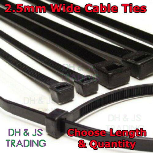 2.5mm Wide Nylon Plastic Cable Ties Zip Tie Wrap Cable Tie Long All Colours